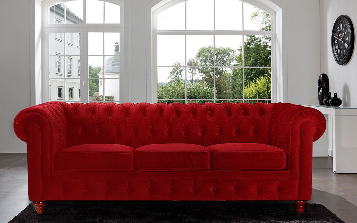 Amazon.com: Divano Roma Furniture Velvet Scroll Arm Tufted Button  Chesterfield Style Sofa, Red: Kitchen U0026 Dining
