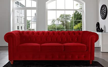 South Cone Home Charles Chesterfield Velvet Tufted Sofa (103 ...