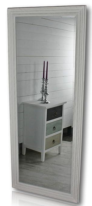 Elbmöbel 150x60cm Spiegel In Weiß Antik Mit Patina Wandspiegel Barock Aus Holz Im Landhausstil Als Badspiegel Schminkspiegel Bzw Frisierspiegel