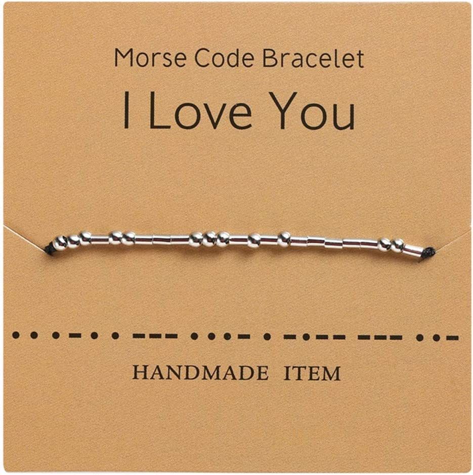 Sperrins Saint Valentin Morse Code Bracelet Je taime amiti/é Couple Famille Bracelet Cadeau