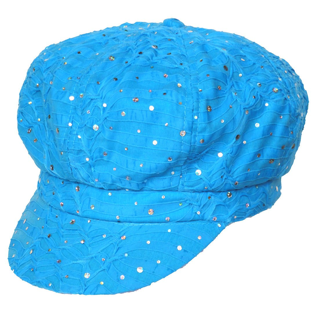 Turban Plus Womens Soft Sequin newsboy Chemo Hat With Stretch Band ... 28641670b9fd