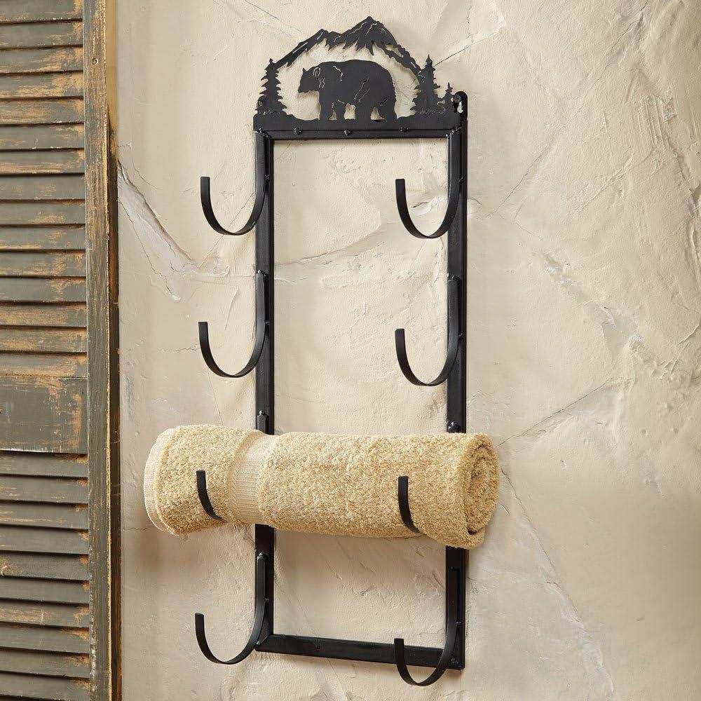 Black Forest Décor Bear Wall/Door Mount Rustic Towel Rack