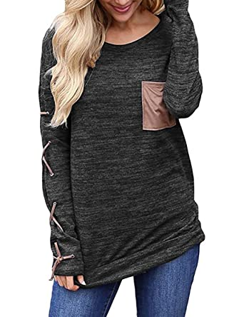 Sanifer Women's Long Sleeve Cotton Tunic Sweater Shirt Fitted ...