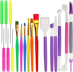 Coitak 18 Pieces Cake Decorating Tool Set, Cookie Decoration Brushes Cookie Sugar Stir Needle Fondant Gum Paste Tool
