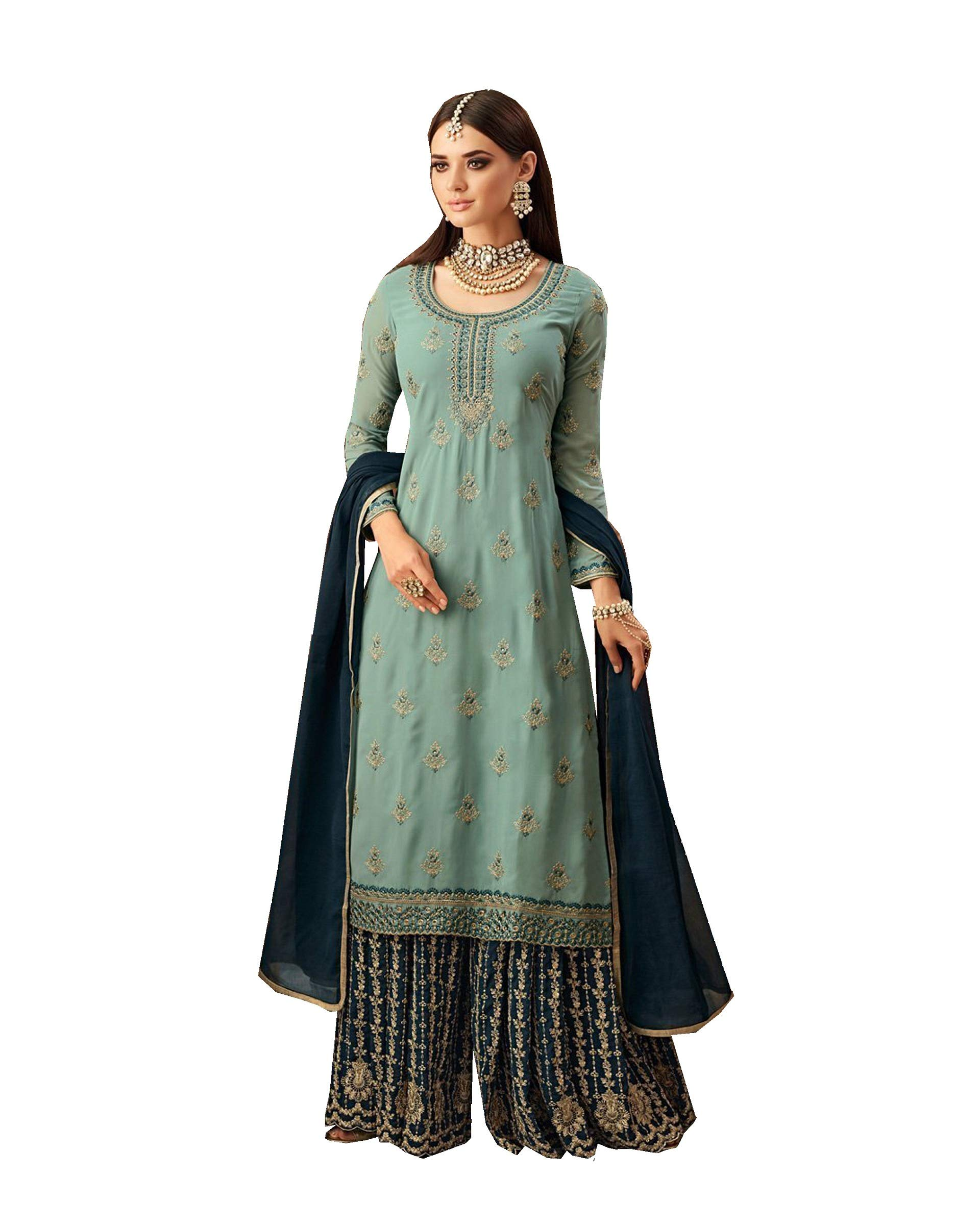 ethnicmode Indian Wear Straight Salwar Kameez Plazzo Style Mohini 57002 (Sky Blue, XL-44)