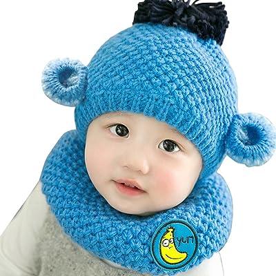 ec621ebc9eb5 AnKoee Bonnet et écharpe Pour Enfants D hiver,Bébé Garçon Chapeau de Singe  de Bande Dessinée,Mignon Chapeau Bébé Avec écharpe