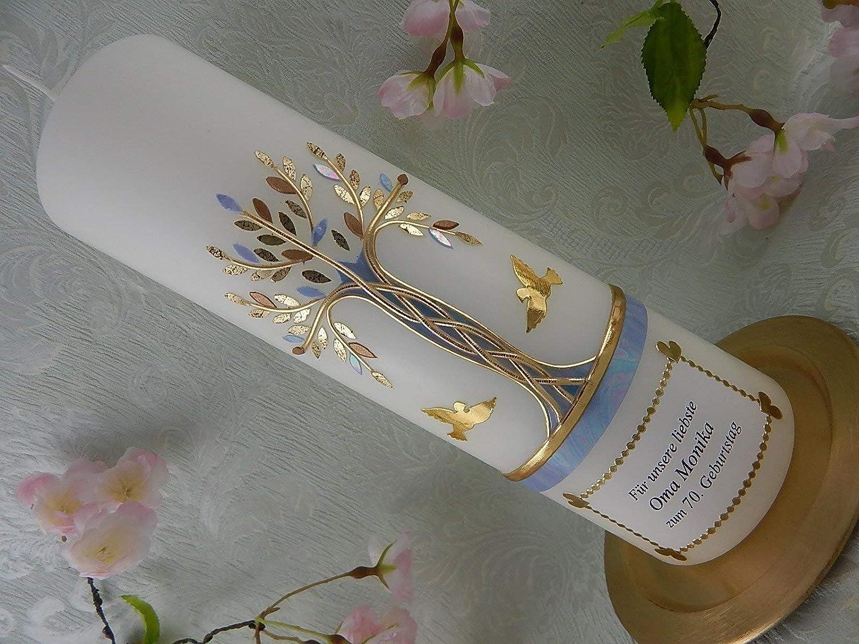 Geburtstagskerze Jubiläumskerze Lebensbaum Tauben gold blau Geschenk Kerze zum Geburtstag 250/70 mm inkl. Beschriftung