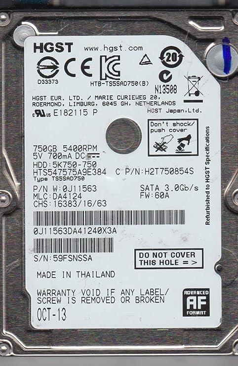 PN 0J11563 HTS547575A9E384 Hitachi 750GB SATA 2.5 Hard Drive MLC DA4124