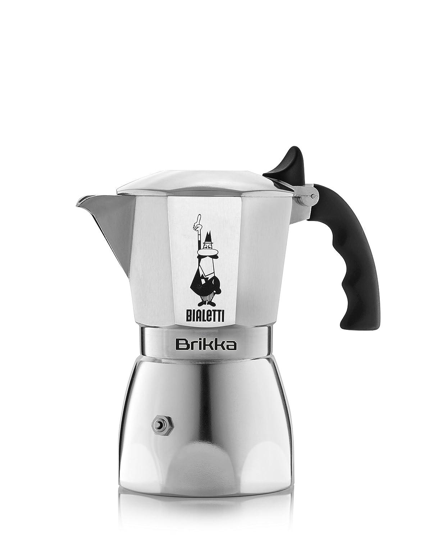 Bialetti 6188 Espressokocher 2 Tassen, Aluminium, silber, 13.9 x 9.9 x 16.9 cm