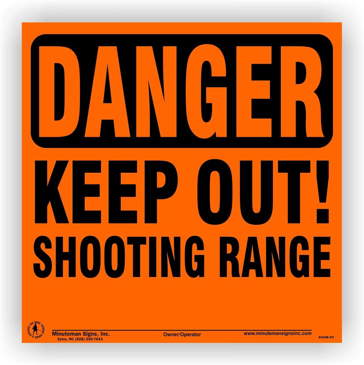 Minuteman Signs | Aluminum Danger Keep Out Shooting Range Sign 4 Pack (Orange)