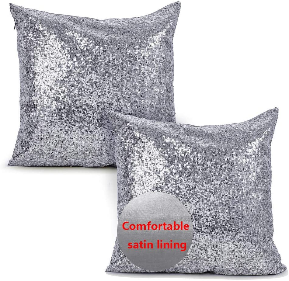 iMucci Sparkling Taffeta Sequins 18 inch Satin Pillow Covers - Pillowcases with Bling Paillette for New Year with Hidden Zipper Silver