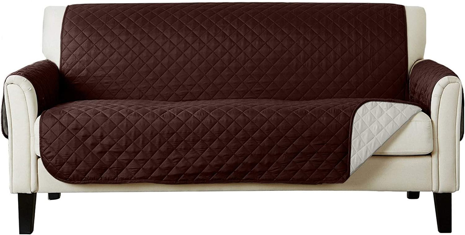 Great Bay Home Reversible Sofa Protector. Furniture Protector for Living Room with Secure Straps. Furniture Protectors for Kids, Dogs and Pets. Skylar Collection (Sofa, Chocolate/Flax)