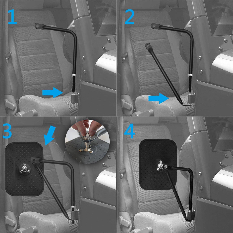 Bentolin 2Pcs Door Off Mirror Side View Door Mirrors for Jeep Wrangler JK CJ YJ TJ 07-17 Shake-proof Road Rectangular Adventure