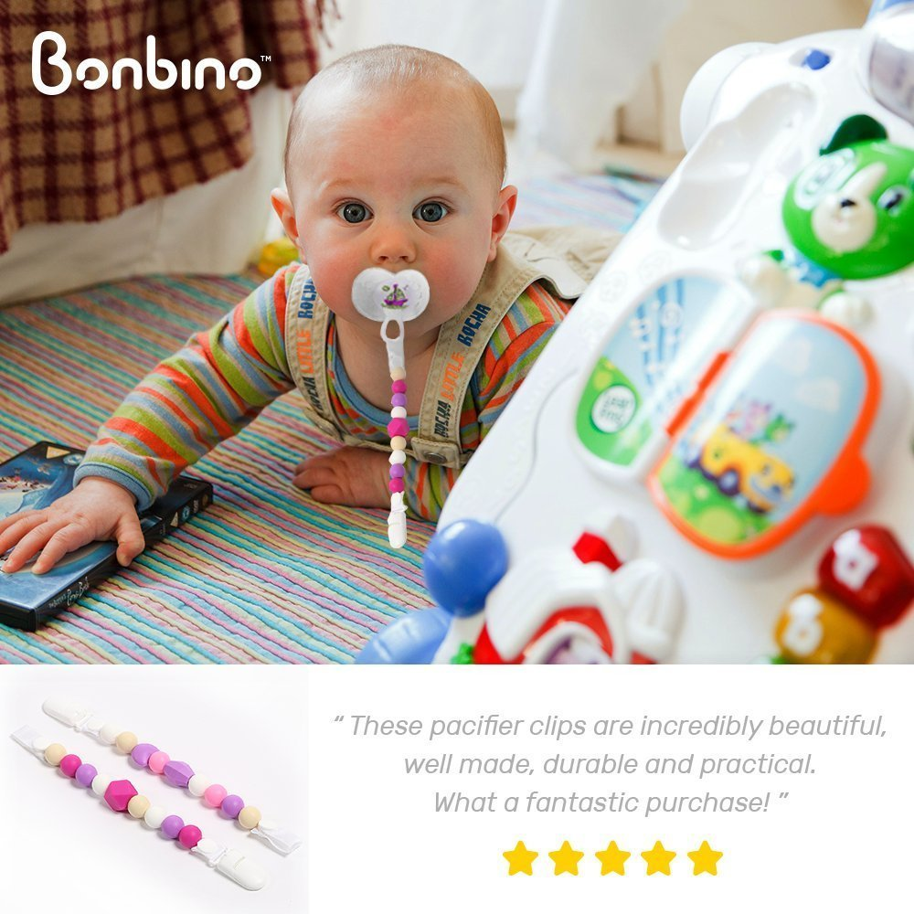 Colorful and BPA-Free Unisex Pacifier Holder Teether Pacifier Clips - 2 Pack Silicone Pacifier Holders for MAM Nuk /& Soothie Rainbow Heaven + Calming Green Fun