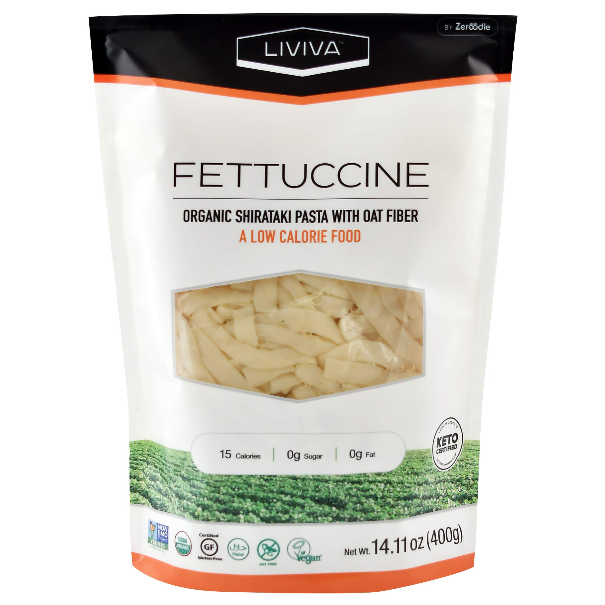 LIVIVA Low Calorie Keto-Certified Organic Shirataki Fettuccine 14 Ounce (Pack of 6) by Zeroodle
