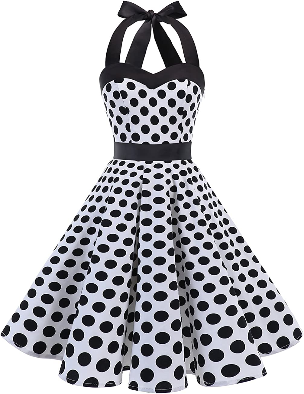 TALLA XS. Dresstells® Halter 50s Rockabilly Polka Dots Audrey Dress Retro Cocktail Dress White Black Dot XS