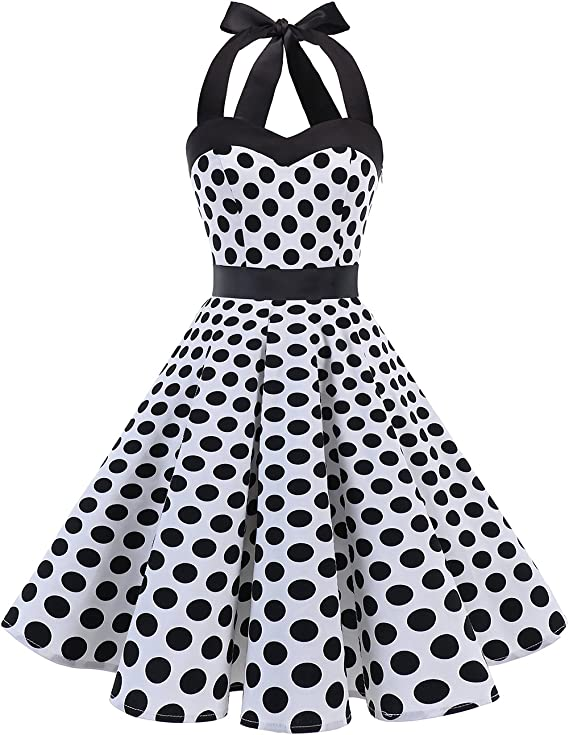 TALLA S. DRESSTELLS® Halter 50s Rockabilly Polka Dots Audrey Dress Retro Cocktail Dress White Black Dot