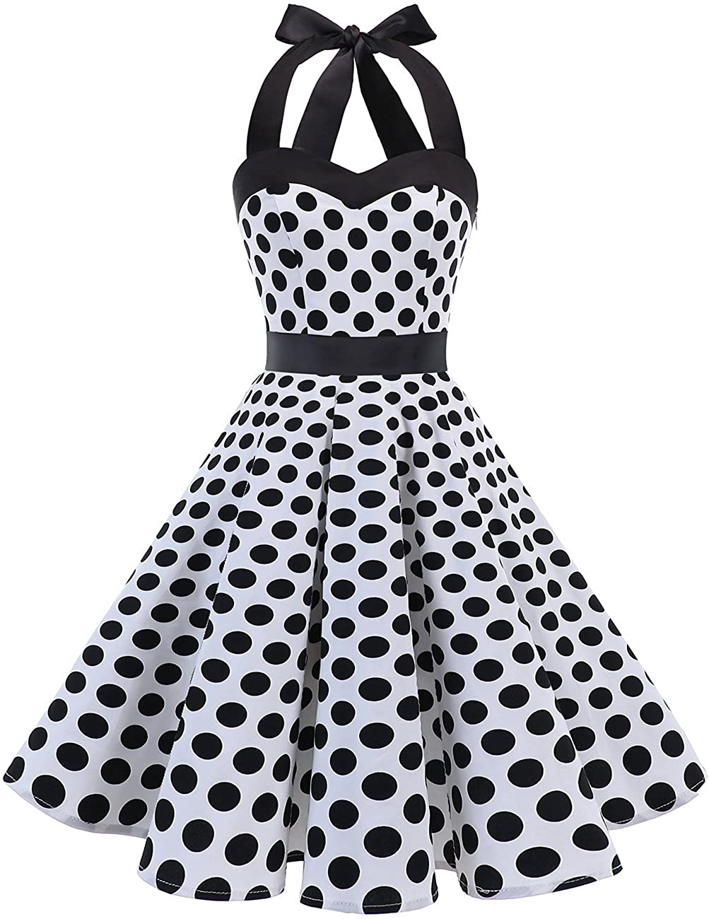 TALLA M. Dresstells® Halter 50s Rockabilly Polka Dots Audrey Dress Retro Cocktail Dress White Black Dot M