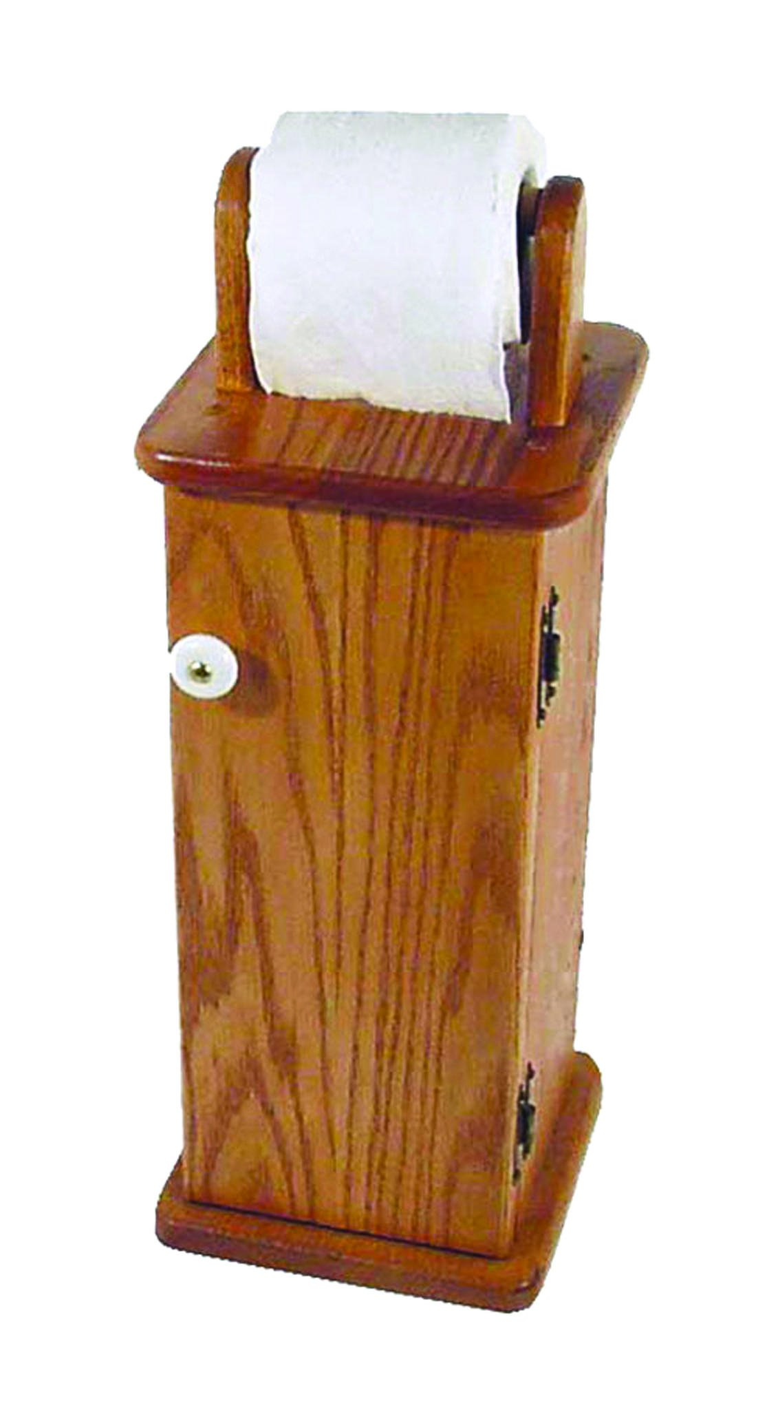 Oak Free Standing Toilet Paper Cabinet / Holder - Amish Made in USA
