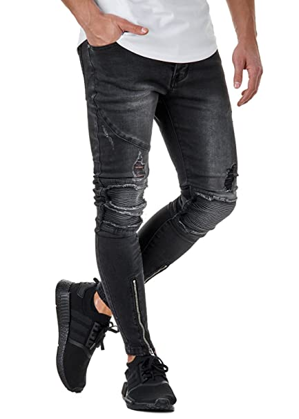 EightyFive Herren Destroyed Jeans Slim Fit Gerippt Zipper Schwarz EFK85-01:  Amazon.de: Bekleidung