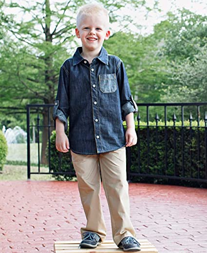 RuggedButts Baby/Toddler Boys Denim Long Sleeve Button Down Shirt with Button Tabs BLWYYXX-DNIM-SC-BABY Baby Boys Button-Down & Dress Shirts