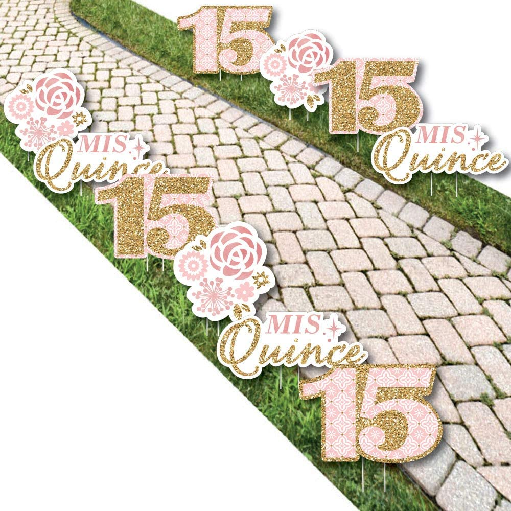 Big Dot of Happiness Mis Quince Anos - Lawn Decorations - Outdoor Quinceanera Sweet 15 Birthday Party Yard Decorations - 10 Piece
