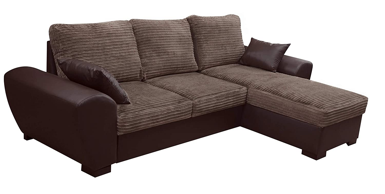 detailed look 20f10 fe805 TOMMY CORNER SOFA BED BROWN JUMBO CORD FABRIC LEATHER WITH STORAGE