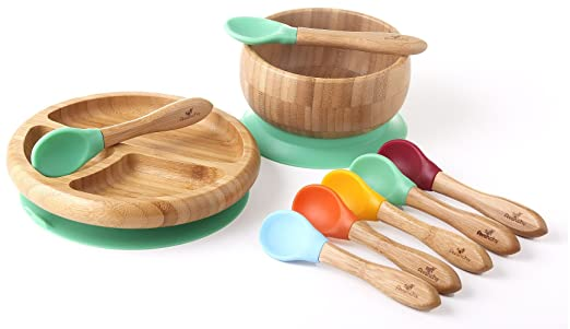 Organic Bamboo Stay Put Suction Baby Dishware