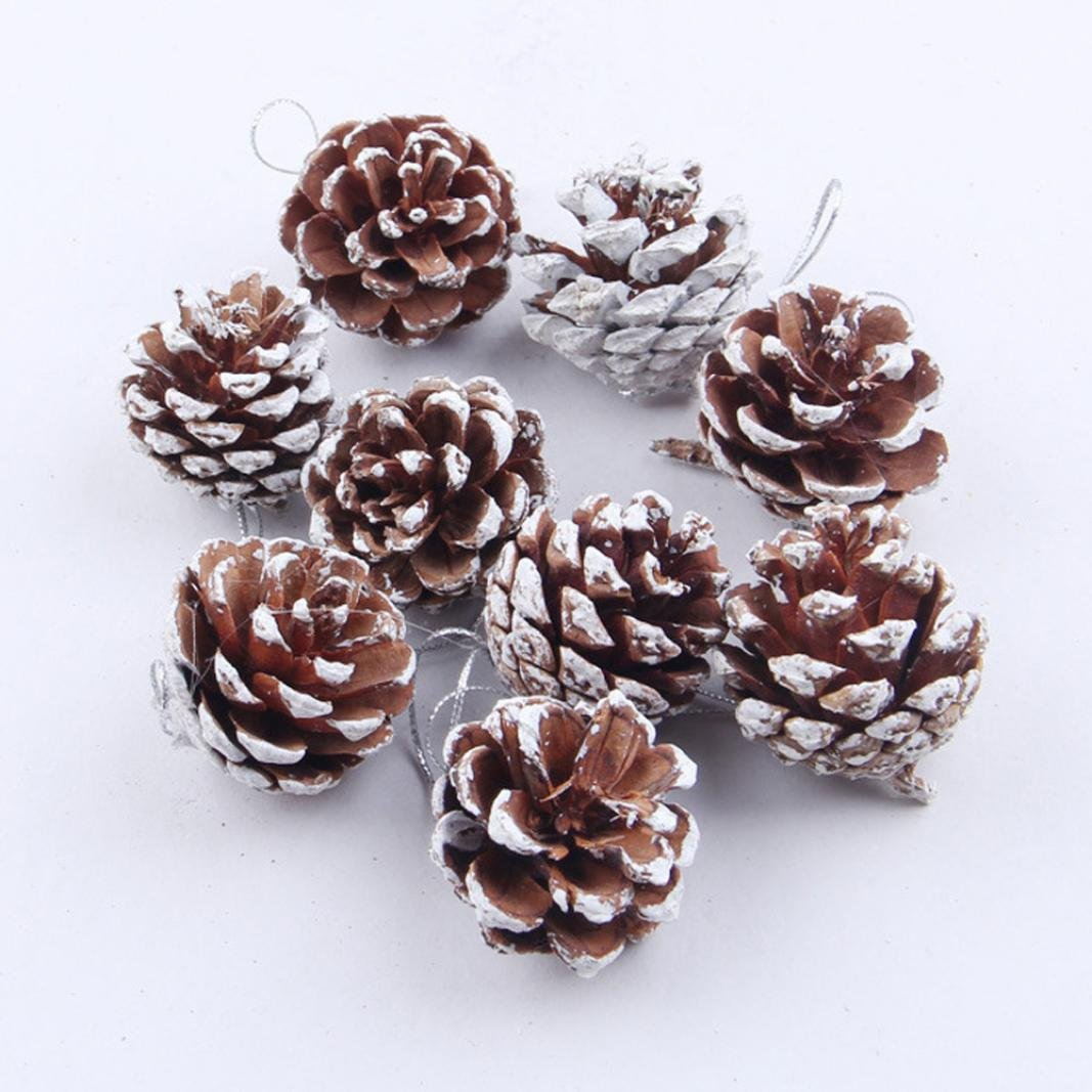 Iuhan 9pcs Christmas Pine Cones Bauble Xmas Tree Party Hanging Decoration Ornament
