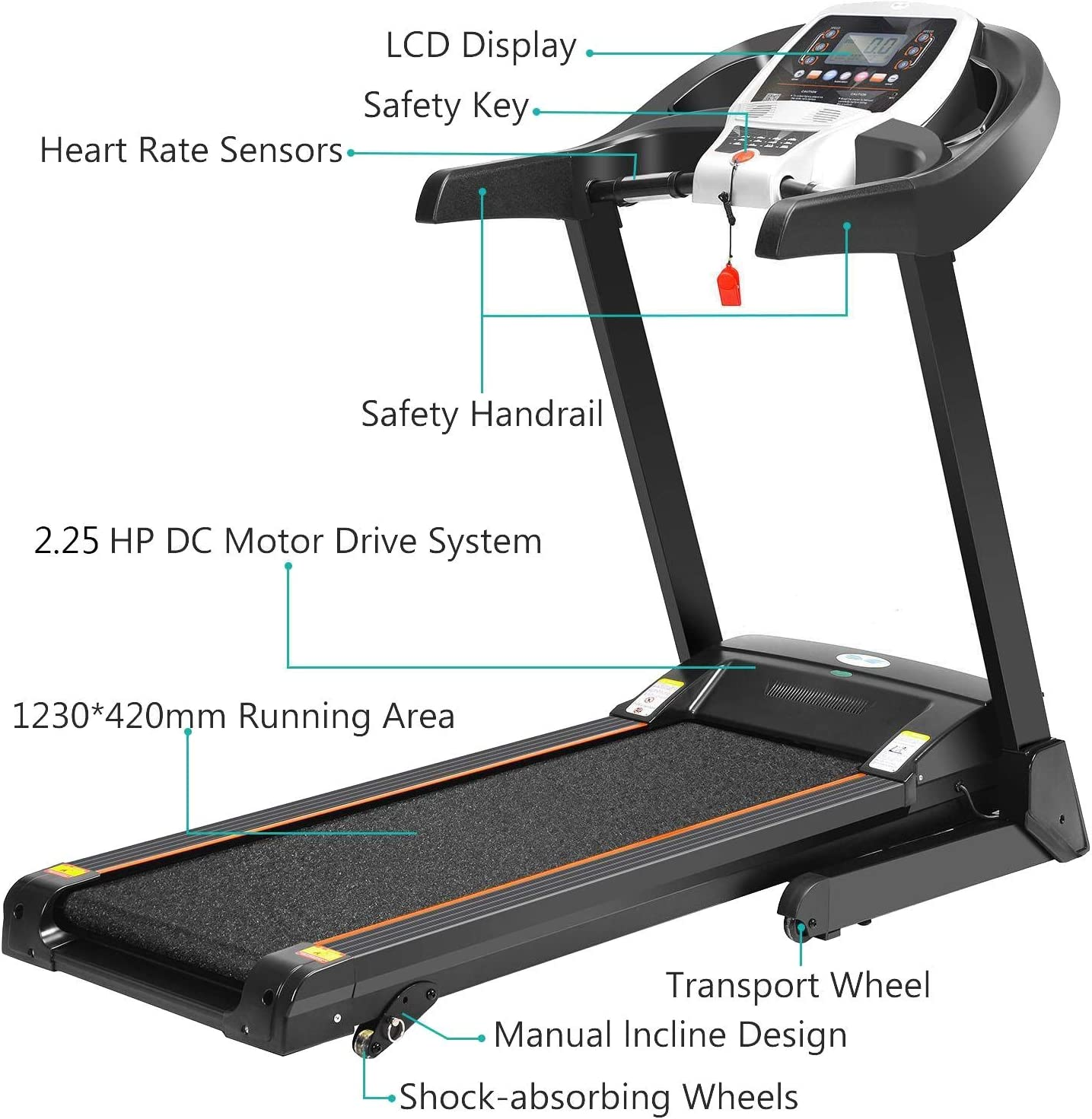 MaxKare Electric Folding Treadmill Running Machine 2.5HP Power 8.5MHP Speed 12-Level Auto Incline Adjustment with Pre-Set Training Programs Large LCD Display Cup Holder for Home Use