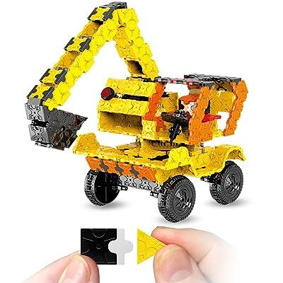 WEofferwhatYOUwant Jeu Blocs Plats Pour Construction en 3D Camion Pelleteuse 743 Pièces Pour Créer Votre Camion