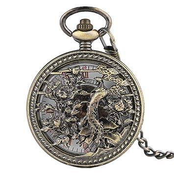 excepcional gama de estilos artesanía exquisita mejor precio XDKHG Reloj de Bolsillo Phoenix Copper Automático Esqueleto ...