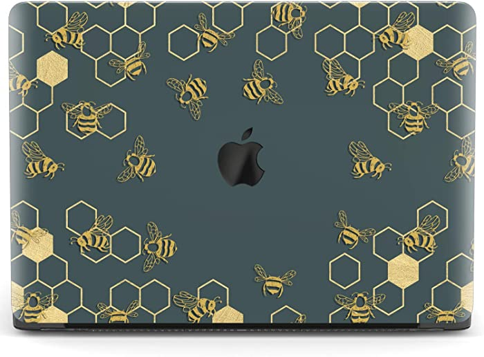 Mertak Hard Case for Apple MacBook Pro 16 Air 13 inch Mac 15 Retina 12 11 2020 2019 2018 2017 Protective Geometric Bee Honeycomb Golden Clear Design Print Cover Laptop Plastic Touch Bar Navy Blue