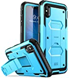 iPhone Xs Max 手机壳,[Armorbox] i-Blason [内置屏幕保护膜][全身][重型保护] [支架] iPhone Xs Max 6.5 英寸 (2018) 减防震手机壳 蓝色