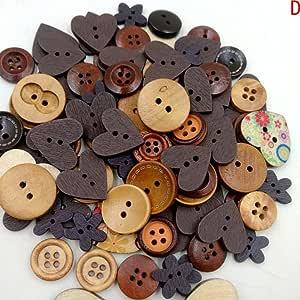 vingdy DIY Botones de madera mezclados botones de forma de
