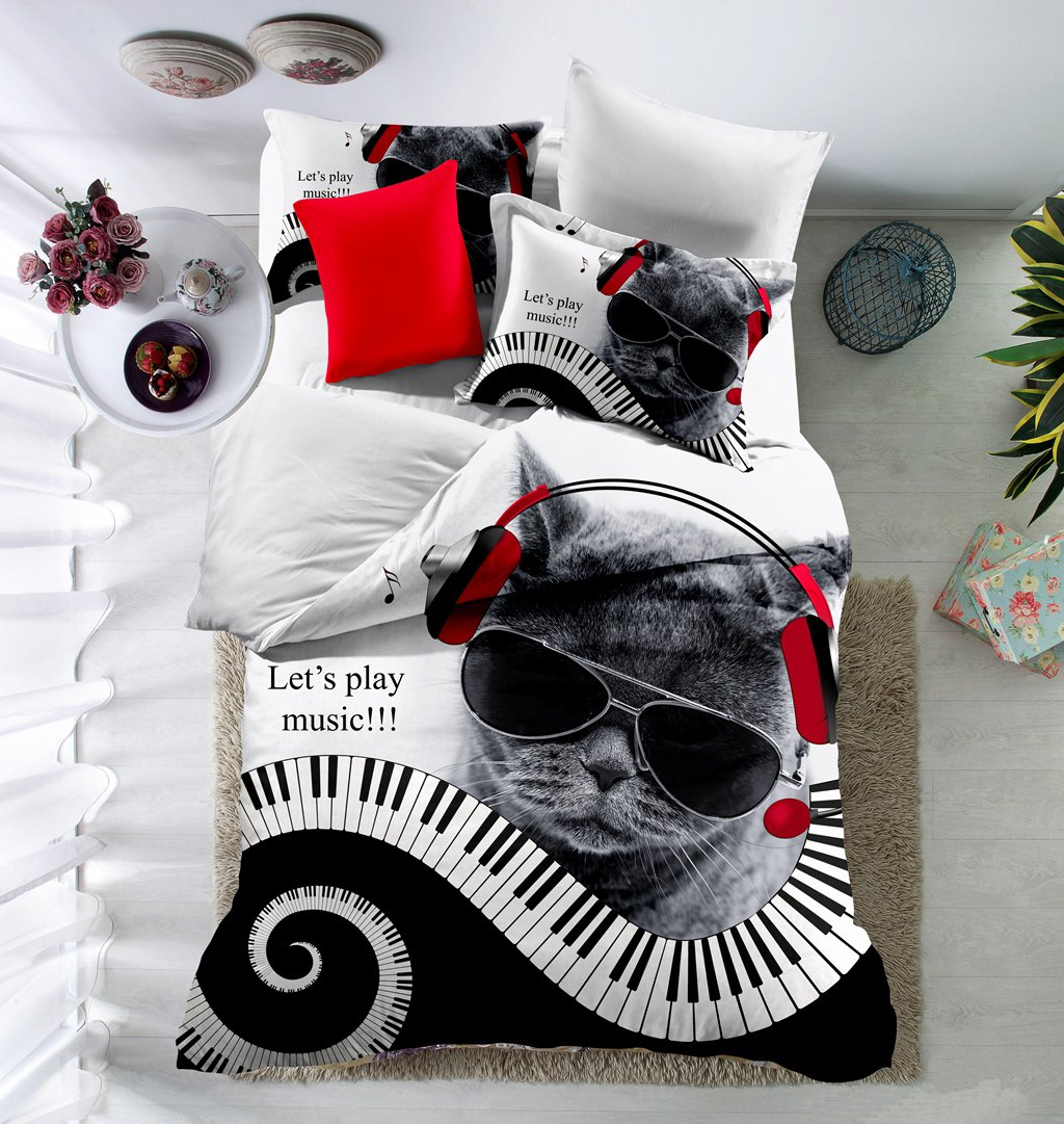 WarmGo Duvet Cover Sets 3D Animal Piano Printing 3pc (1pc quilt cover + 2pc pillowcase) Microfiber Polyester Customized 3d Cool Cat Playing Music Bedding Set without Comforter -Full Size
