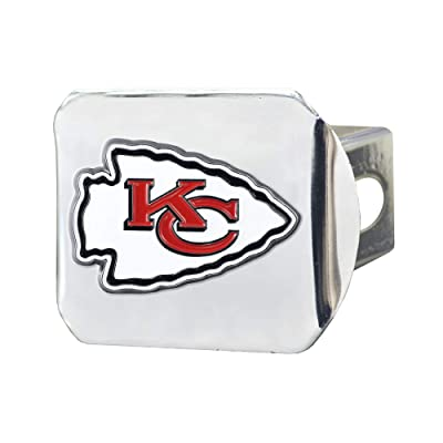"FANMATS NFL Kansas City Chiefs Metal Hitch Cover, Chrome, 2"" Square Type III Hitch Cover: Automotive"