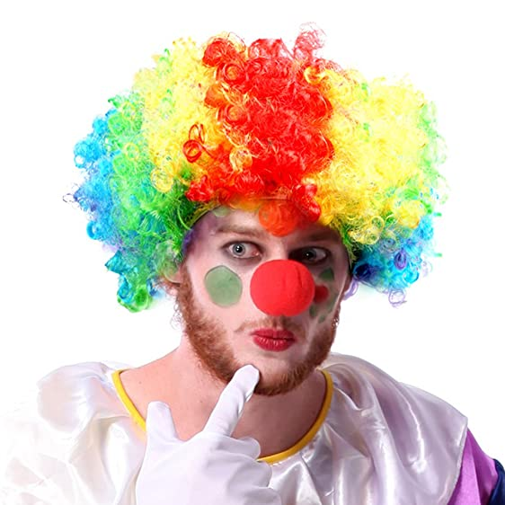 Clown Wigs Halloween Crazy Clown Costume Wigs Afro Curly Colorful Clown Wigs Costume with Breathable  sc 1 st  Amazon.com & Amazon.com: Clown Wigs Halloween Crazy Clown Costume Wigs Afro ...