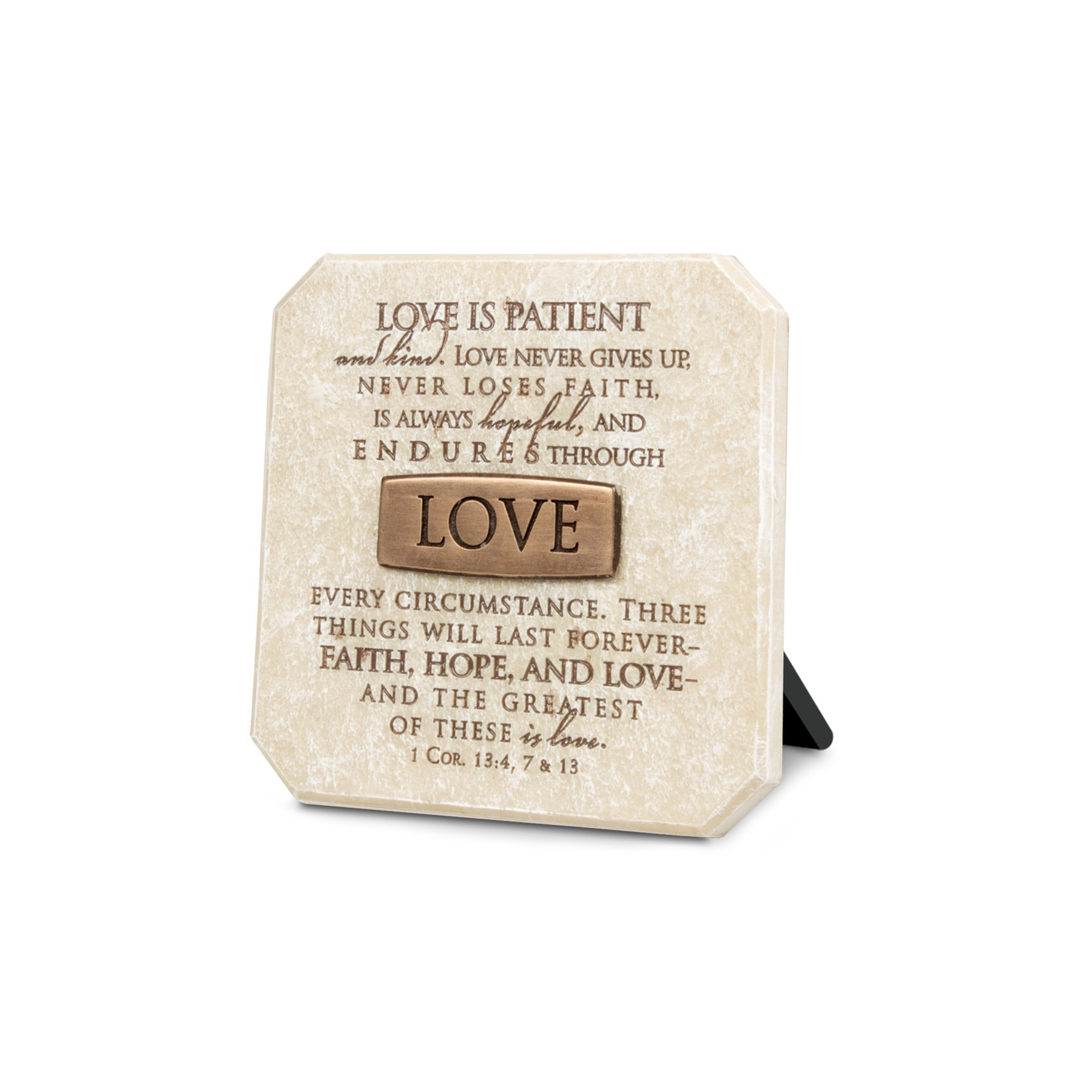 Lighthouse Christian Products Love Title Bar Plaque, 3 3/4 x 3 3/4'', Bronze