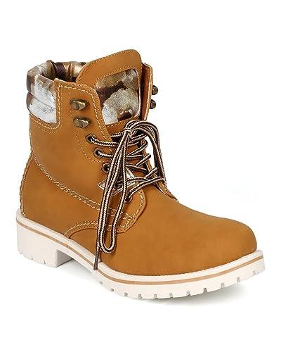 3cdf380314a Amazon.com | Women Leatherette Lace Up Two Tone Lug Boot CG74 ...