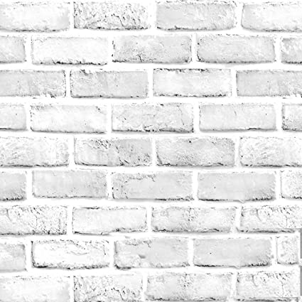Blooming Wall 1022 Prepasted Painted White Brick Stone Peel And Stick Wallpaper Decor Self Adhesive Wallpaper Contact Paper 1022 48 Sq Ft Roll