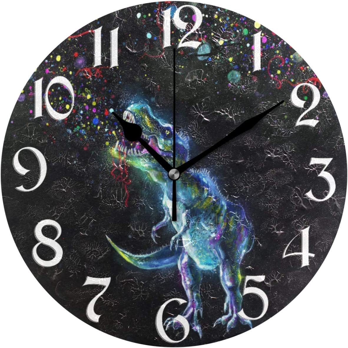 Naanle Fireworks Dinosaur Round Wall Clock Watercolor Dinosaur Silent Non Ticking Wall Clocks Battery Operated for Home Office School Decor