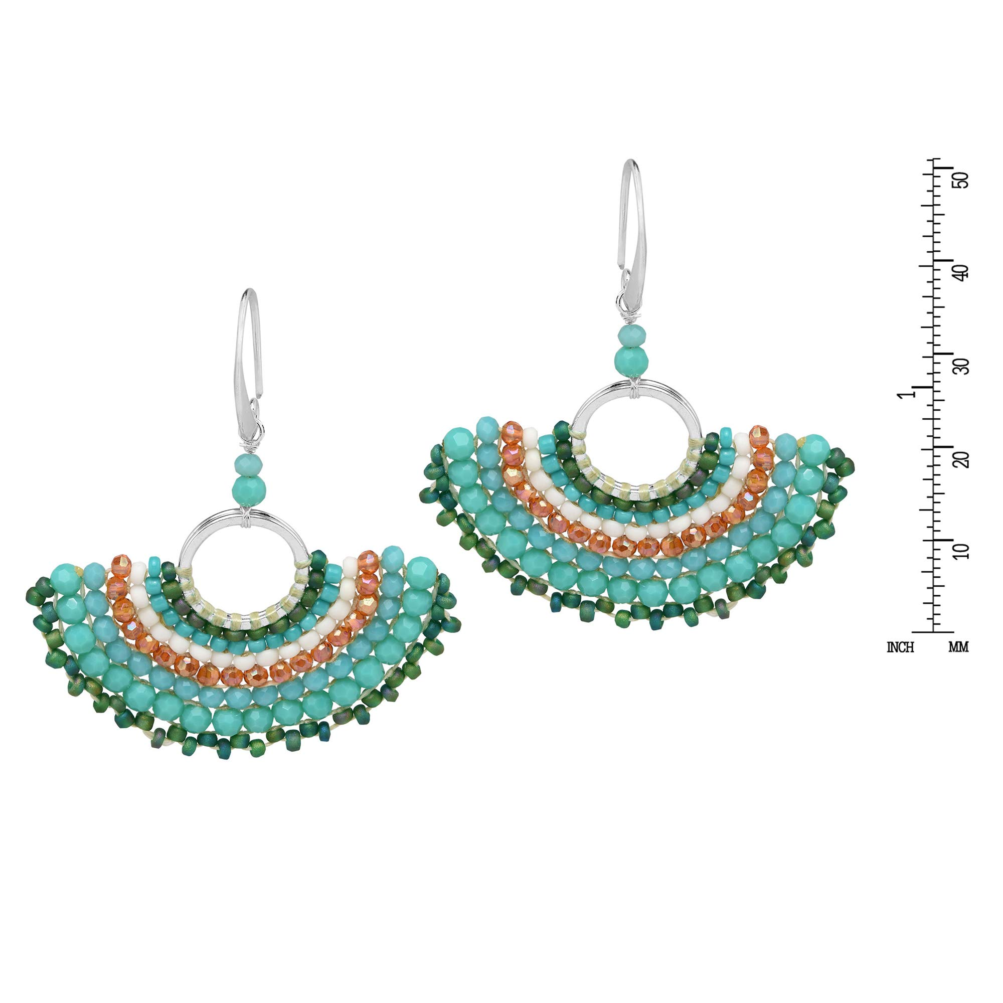Chic Simulated Turquoise & Fashion Crystal & Fashion Bead Fan .925 Sterling Silver Dangle Earrings by AeraVida (Image #3)