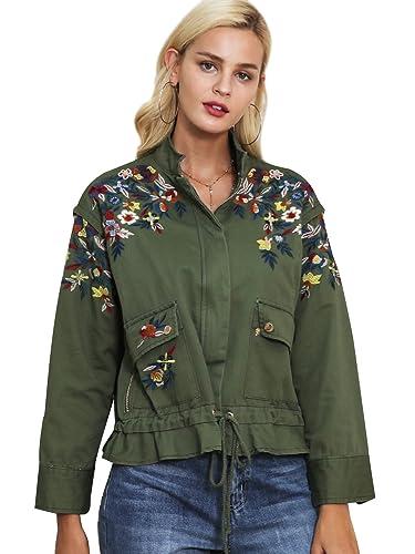 Simplee Apparel Women 's Loose bordado ropa de abrigo chaqueta corta parka