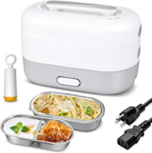 Self Cooking Electric Lunch Box, Portable Cooking Steaming Lunch Box 1.2L, Food-Grade Mini Rice Cooker with 2 Stainless Steel Containers for Office, Home and School, 110V 350W(Gray)