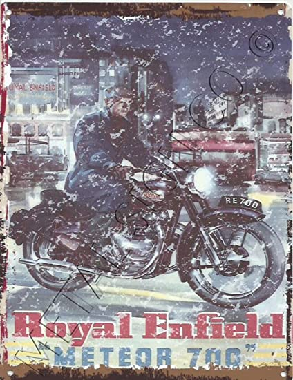 Royal Enfiled 700 Meteor motor ciclo garaje Metal Sign Retro ...