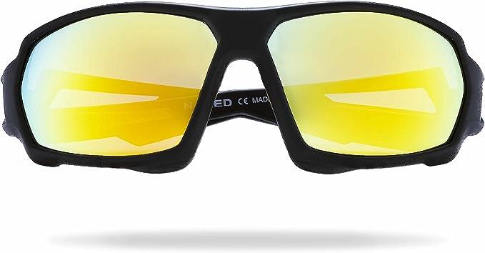 NAKED Optics Gafas Deportivas Hombres y Mujeres, Gafas de Sol Deportivas con Lentes de Espejo, Gafas de Sol para Ciclismo, Carrera, triatlón, Voleibol ...