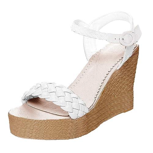 Minetom Mujer Sandalias De Tacón Cuña Alto Playa Zapatos De Verano Oro Boho  Sandals Attractivo Casual Moda Tacones  Amazon.es  Zapatos y complementos a68fca9db5fa
