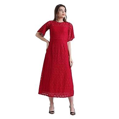 1f7791c4986 Zink London Women s Polyester Elastene Red Self Design Maxi Dress (Large)