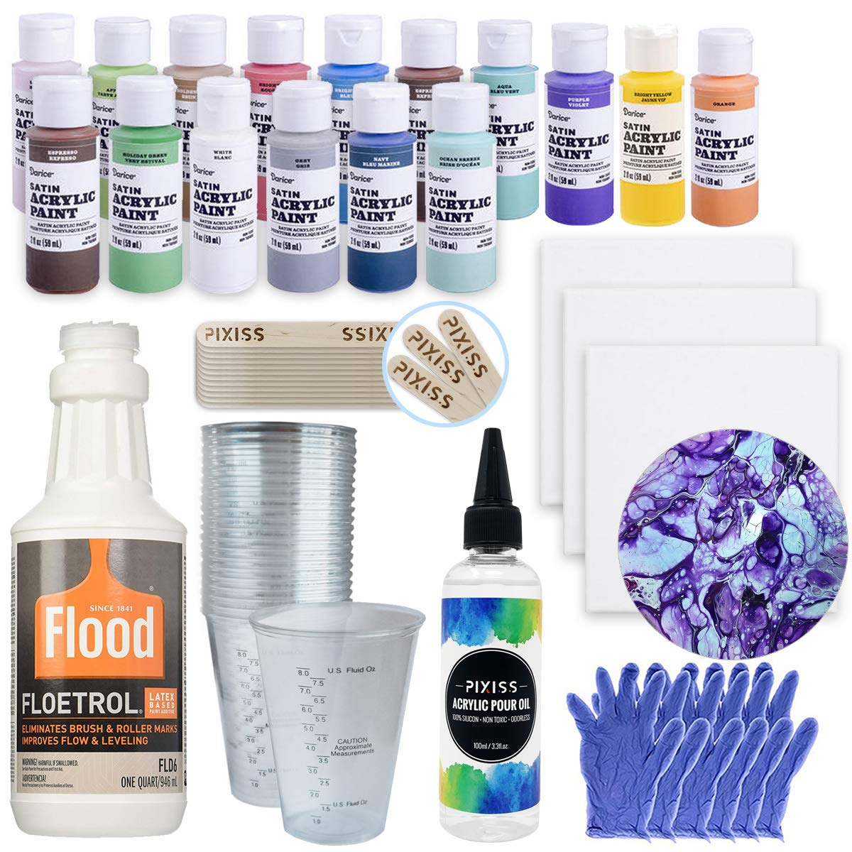 Acrylic Paint Pouring Bundle - Floetrol, Cups, 16x 2-Ounce Acrylic Paints, 3X 6-inch Canvases, Pixiss Acrylic Pouring Oil, Mixing Sticks, Gloves, Complete Kit for Paint Pouring by GrandProducts